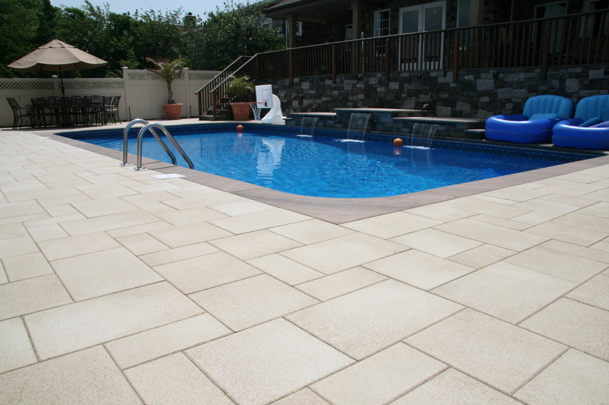 Landscape design with pool area in Long Island, NY
