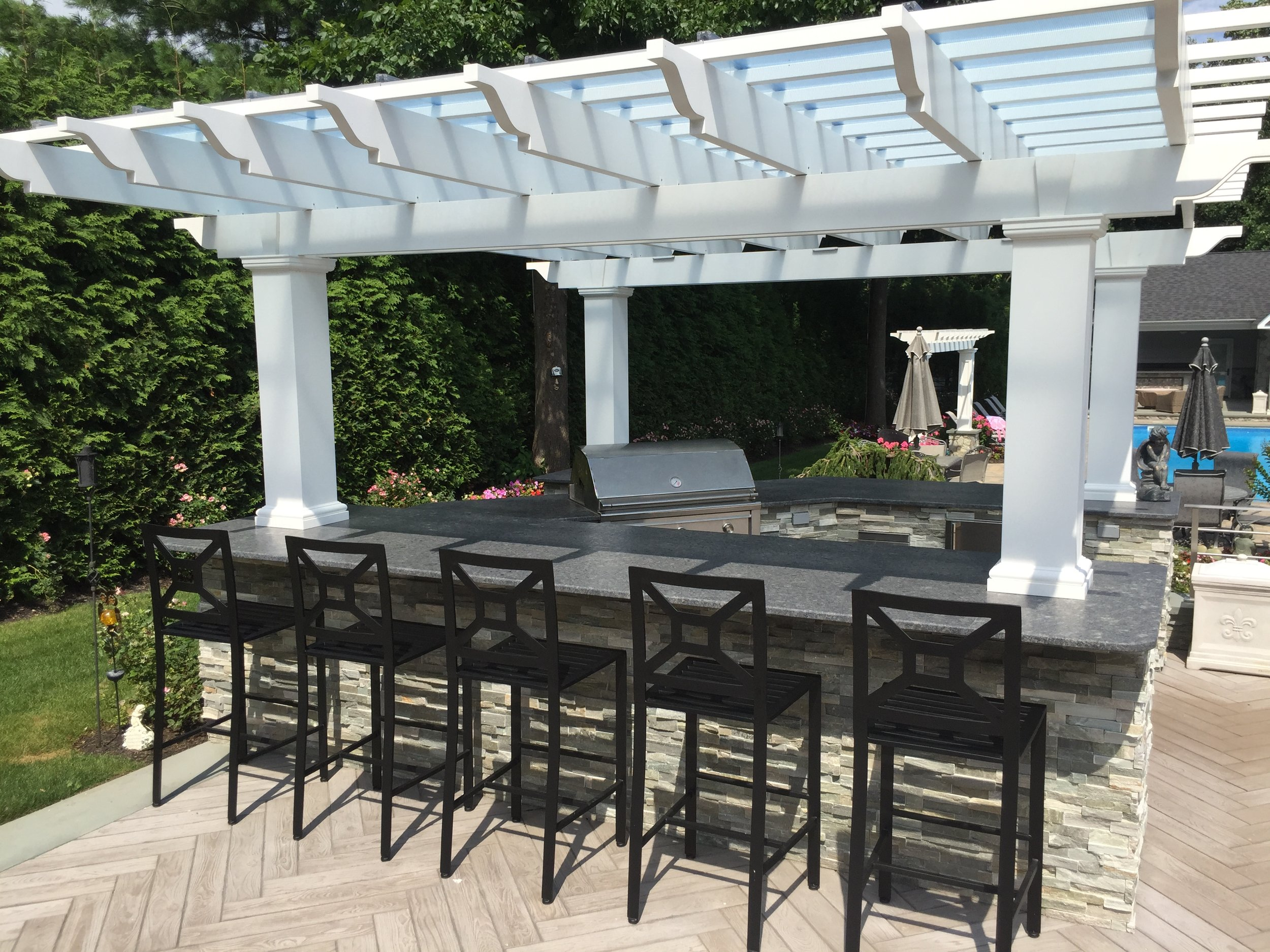 Professional outdoor kitchen pergola in Long Island, NY