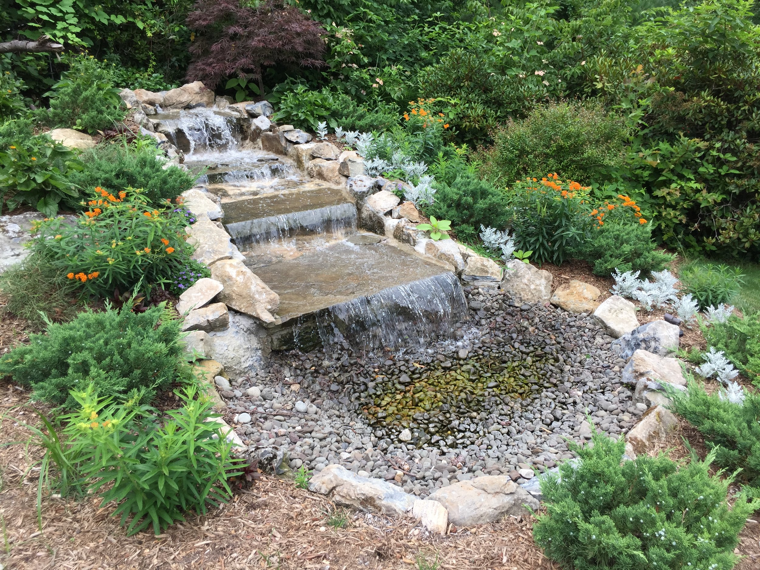 Top landscape design with pond waterfall in Long Island, NY