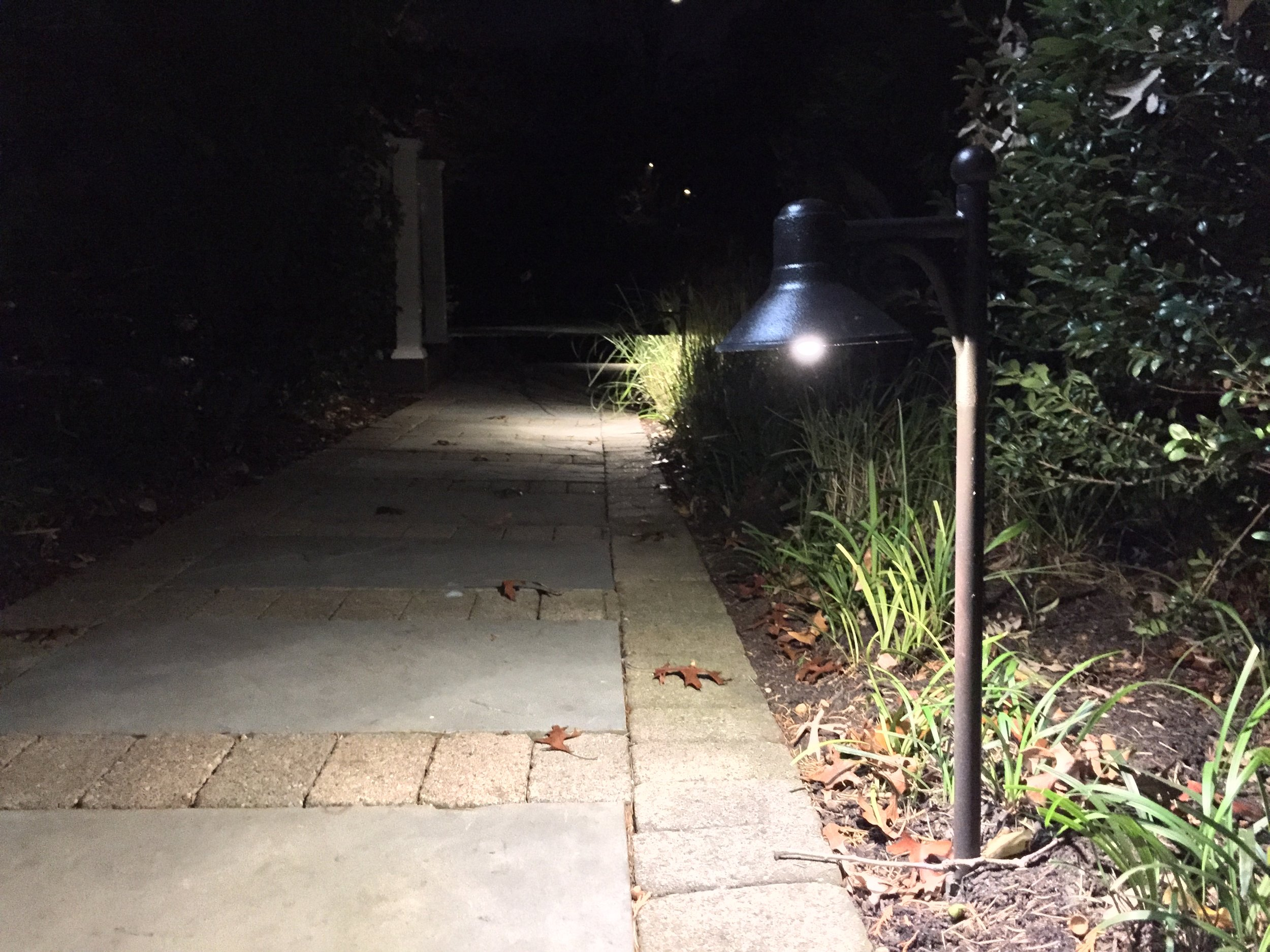 Landscape design with outdoor lighting in Long Island, NY