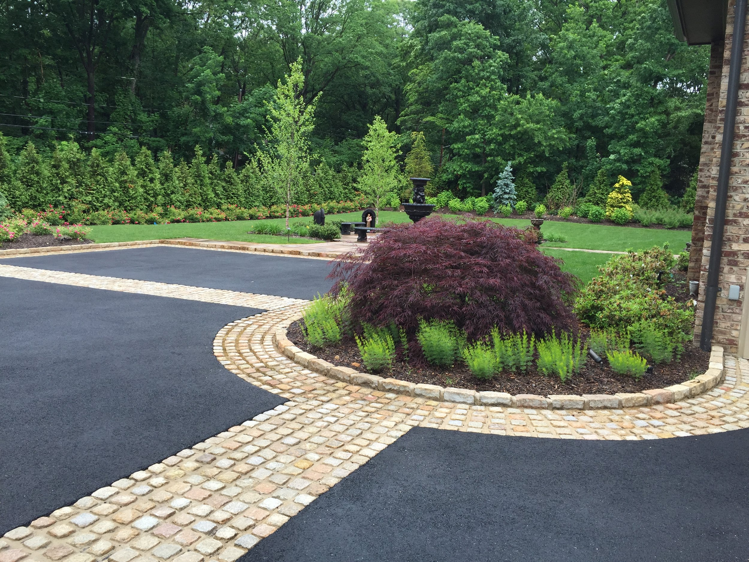 Landscape design with front entrance in Long Island, NY