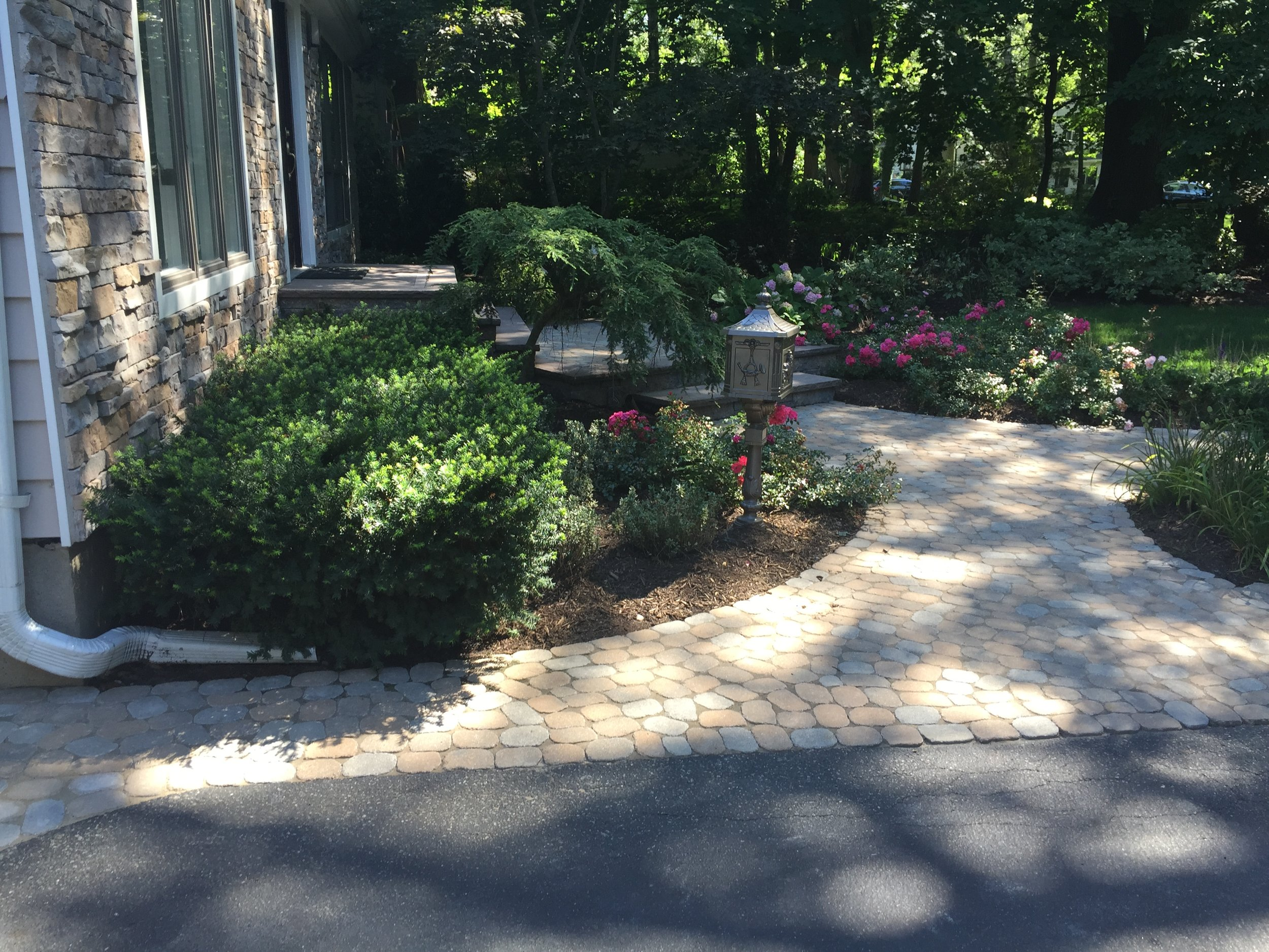 Landscape design with paved walkway in Long Island, NY