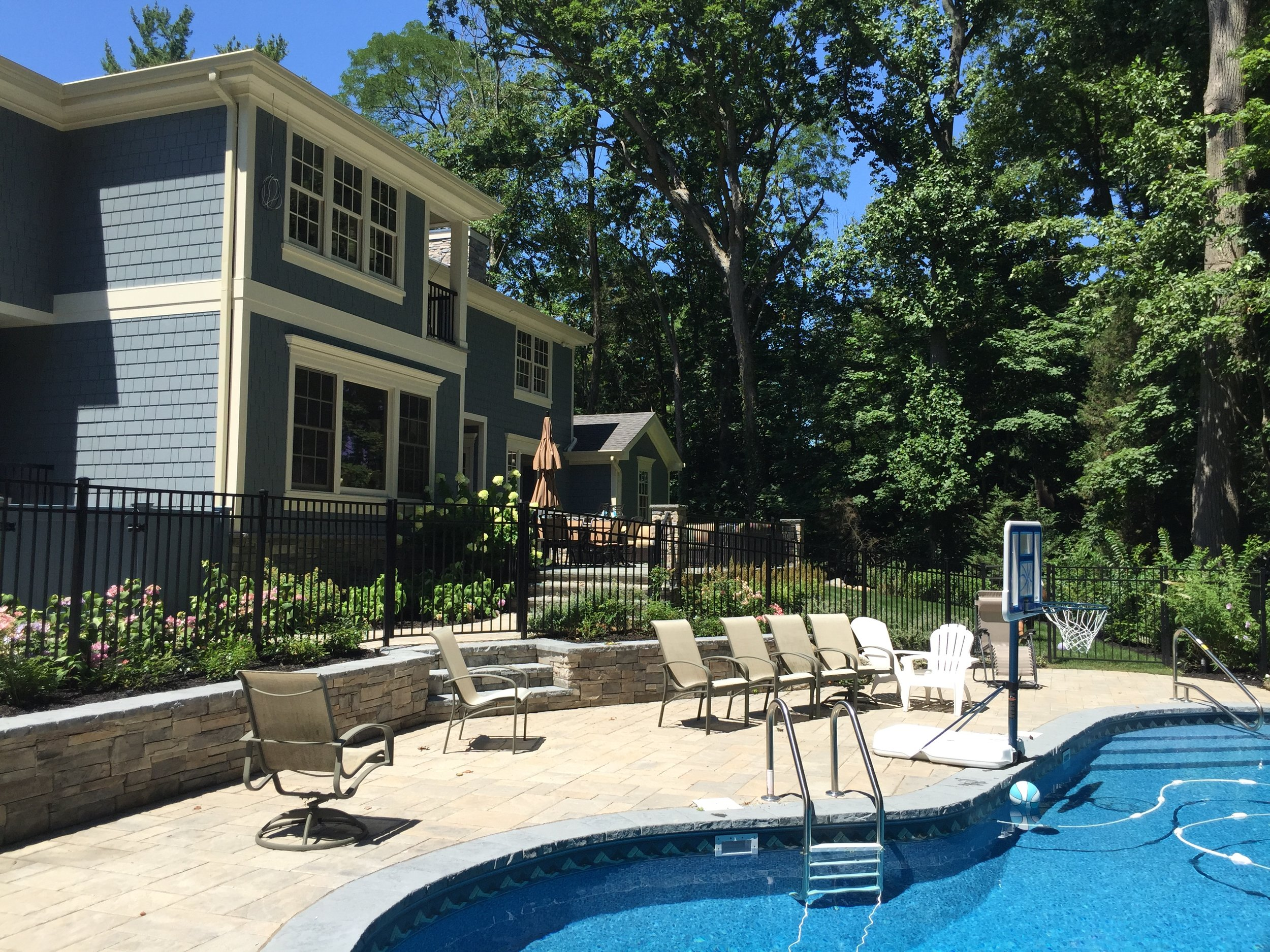 Landscape design with spa in Long Island, NY