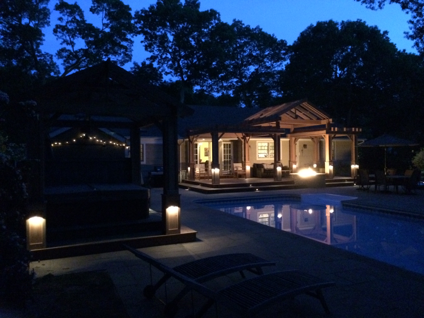 Landscape design with path lighting in Long Island, NY