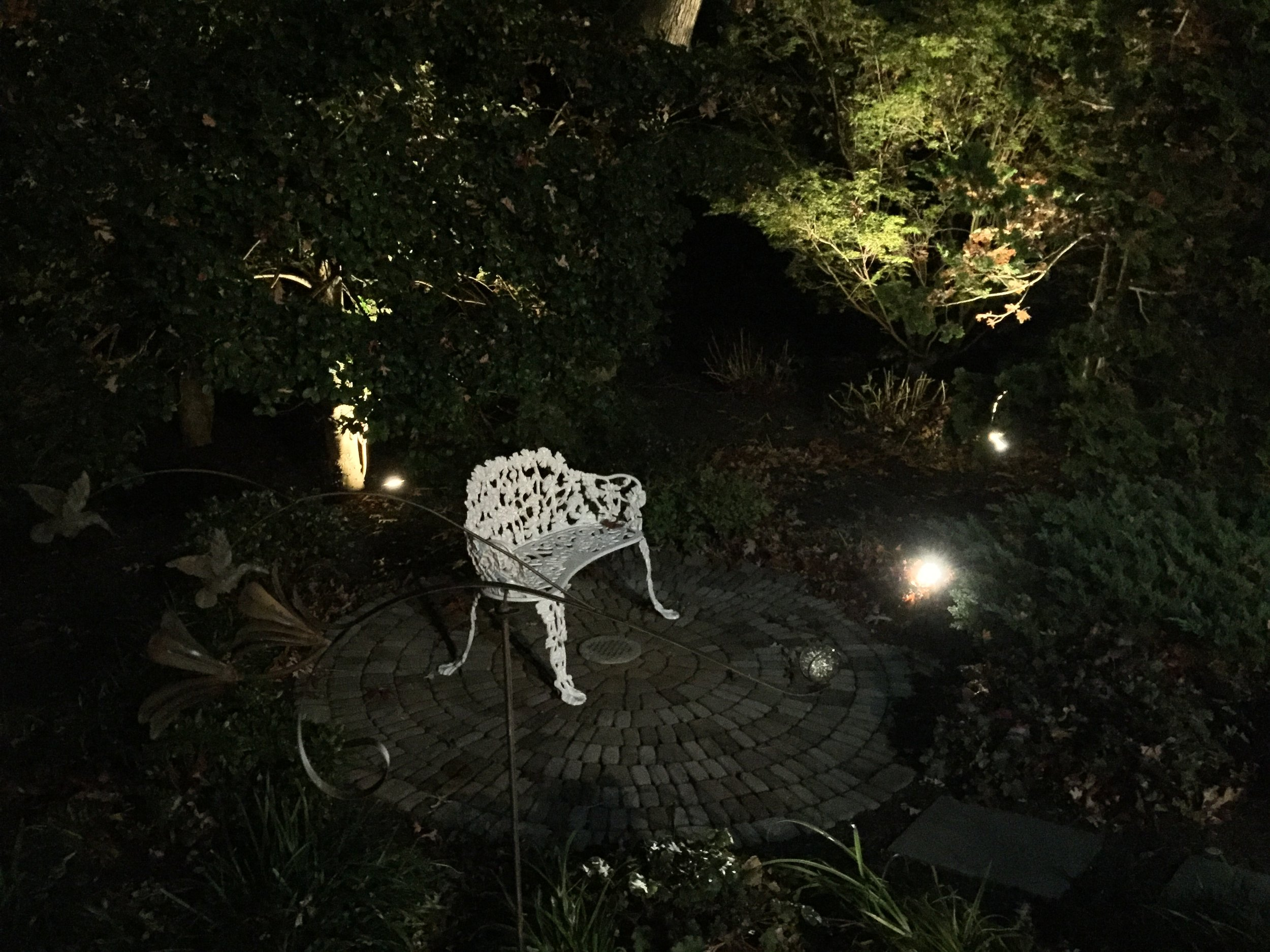 Landscape design with LED lighting in Long Island, NY