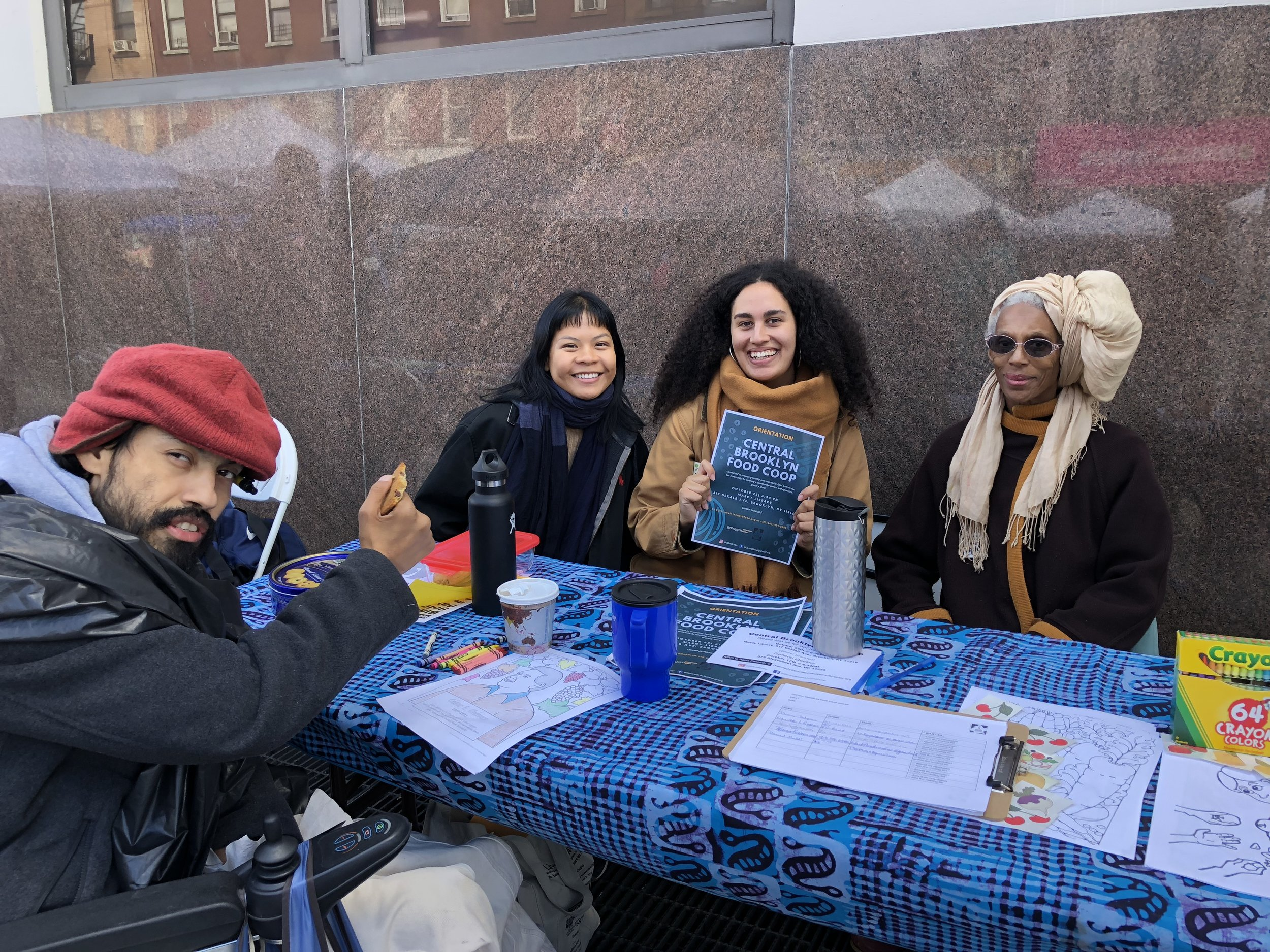 Spreading the word about the coop on a frigid Fall day at  Bed Stuy Alive .