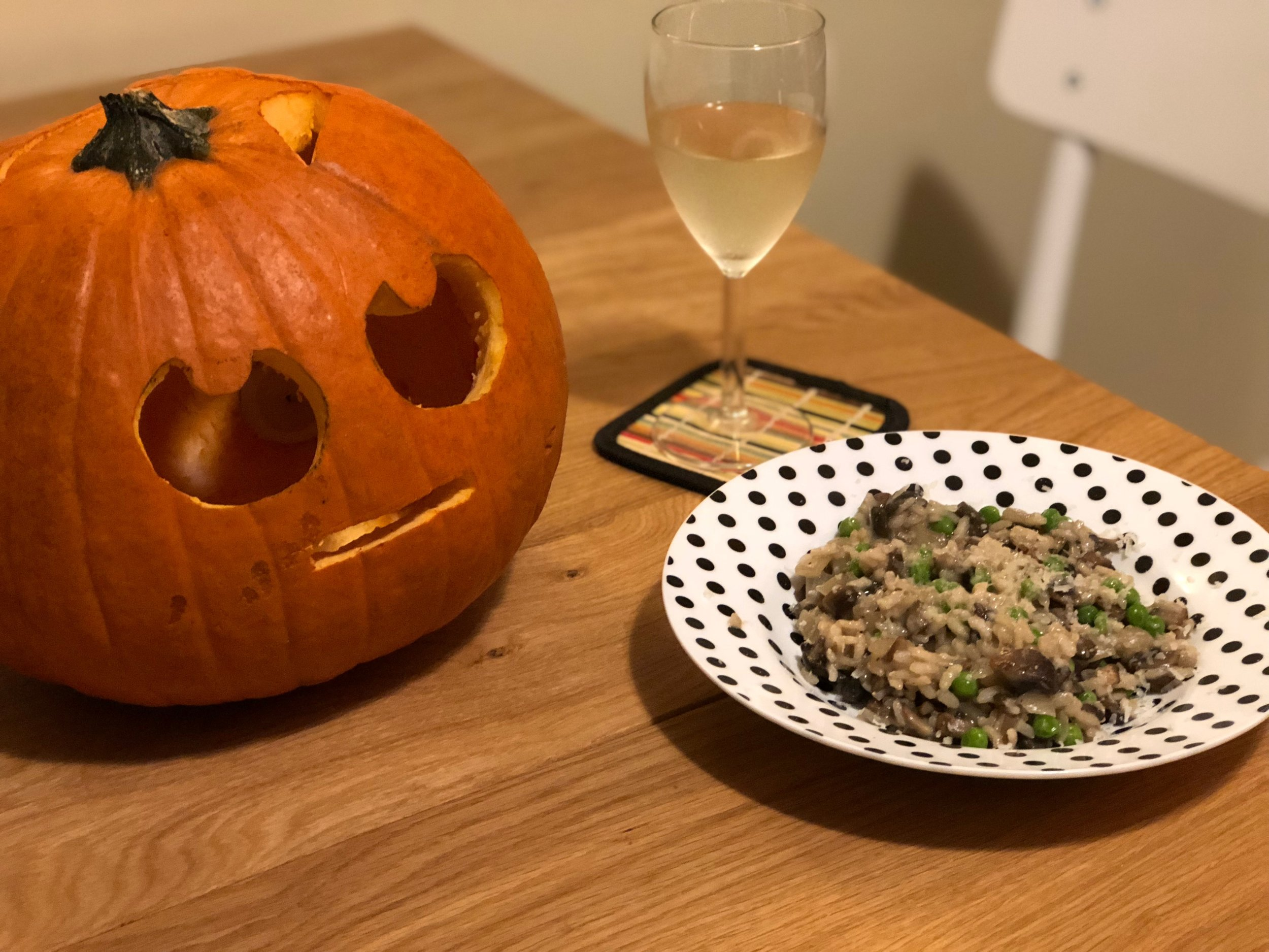 This pumpkin was not impressed with my risotto, considering how long it takes to cook it properly.