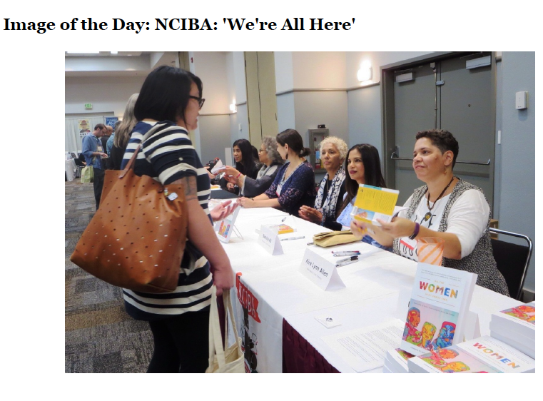 """""""At the NCIBA booth on the trade show floor, several of the contributing authors signed their collection All the Women in My Family Sing: Women Write the World: Essays on Equality, Justice, and Freedom (Nothing But the Truth Publishing; January 30, 2018), edited by Deborah Santana. Seated at the table, r.-l.: Kira Lynn Allen, Samina Ali, Deborah Santana, Phiroozeh Petigara, Marti Paschal, Charina Lumley, Nayomi Munaweera.""""  ~~   Shelf Awareness"""