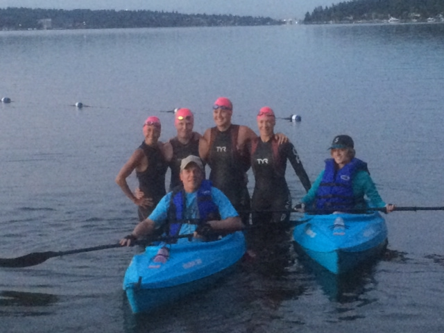 Four lake swimmers, two kayakers