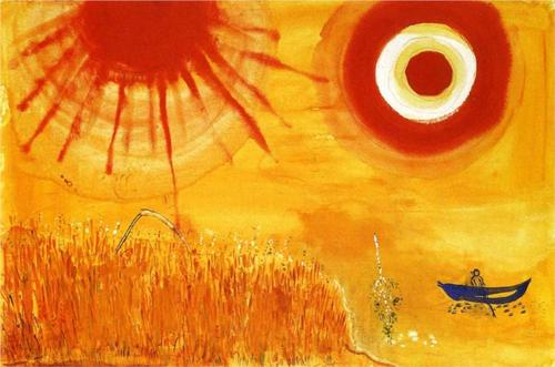 chagall's painting, golden boat