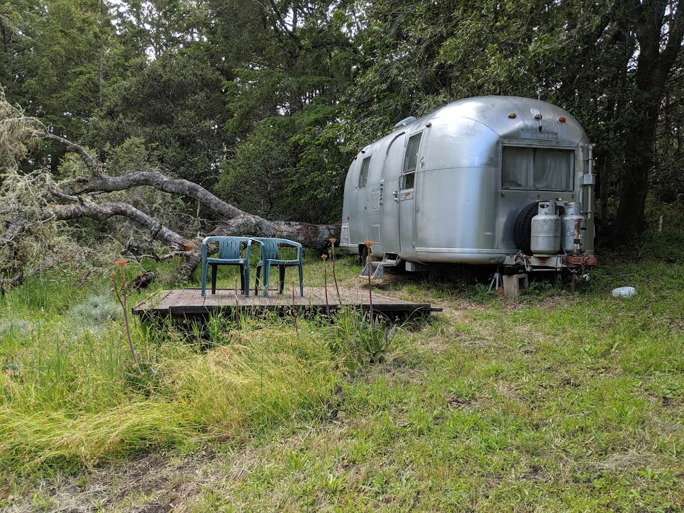 Airstream and deck.