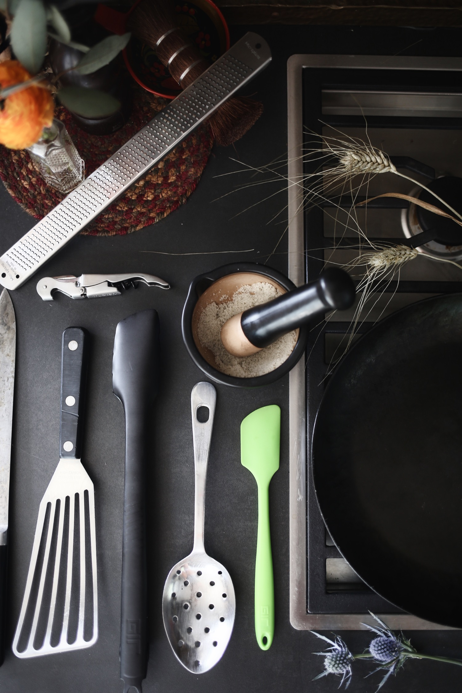 kitchen tools & Miscellaneous Essentials - When it comes to price, quality, and aesthetics, nothing tops GIR tools. Don't even consider another brand if GIR makes what you're looking for.Our faves: Ultimate Spatula // Mini Spatula // Ladle // Ultimate Spoonula // Slotted Spoon // Tongs (not yet released, but I've got some and they're AMAZING!)————————————————————————————--All of these items should handle 90% of your cooking, but here are a few more things that can move the needle:Peltex Spatula: absolute best style of spatula for flippingMicroplane: an eternal tool essential for zesting citrus (great ad to salads) and grating cheeses or gingerMortar and Pestle: if you're not grinding your own salt and spices, you need to start right now. It's the single biggest thing you can do to improve the flavor of everything you make.