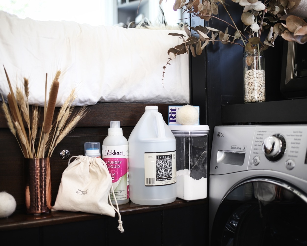 daily washes: - · Biokleen Liquid Laundry detergent (wash cycle)· Baking Soda (wash cycle)· White vinegar (rinse cycle)· Wool dryer balls + essential oils when desired (dry cycle)· Oxyclean stain remover (as soon as the stain hits!)