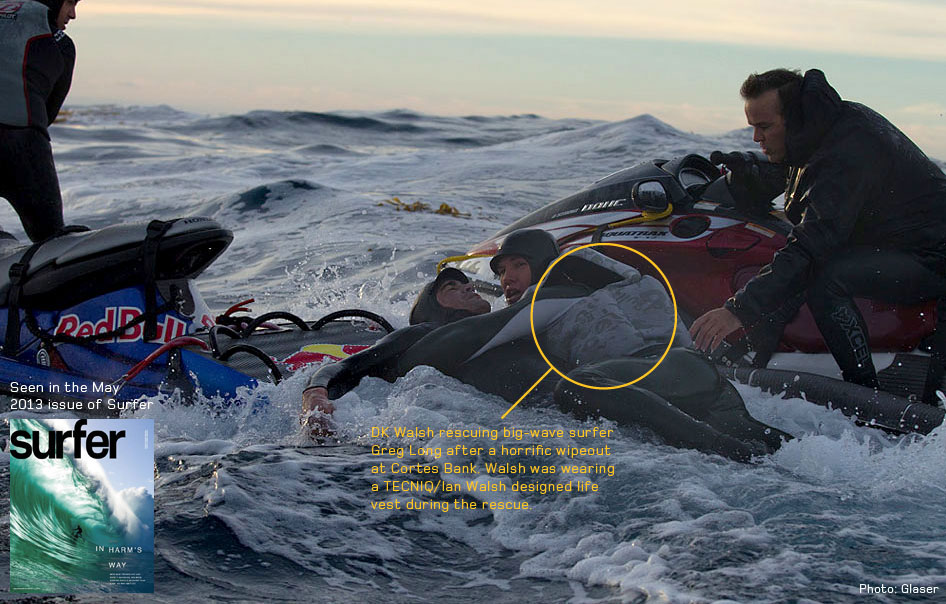 An early prototype HydroZOTE™ life vest being used during a critical water rescue of big-wave surfer Greg Long