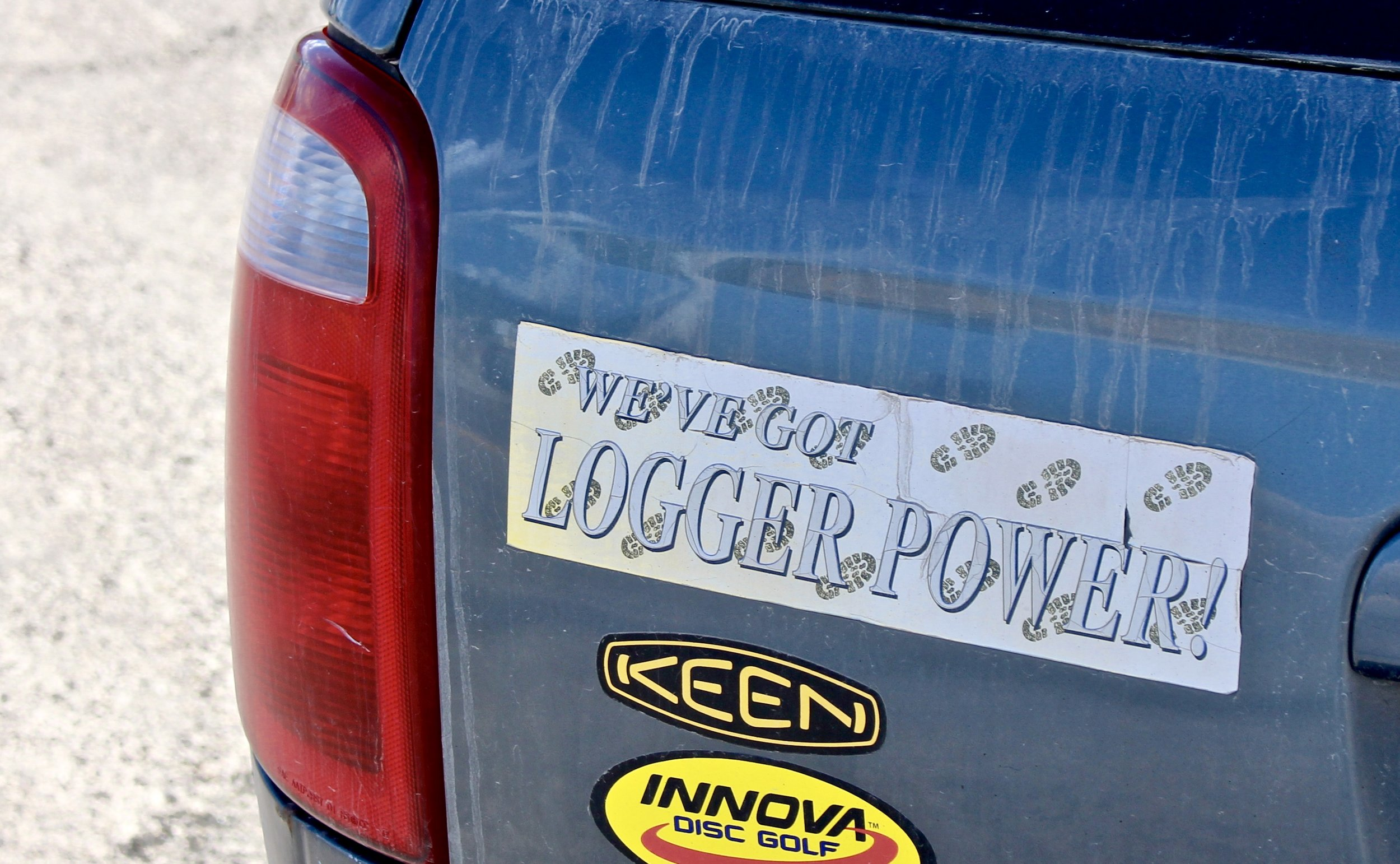 Bumper stickers brag of the towns old strength