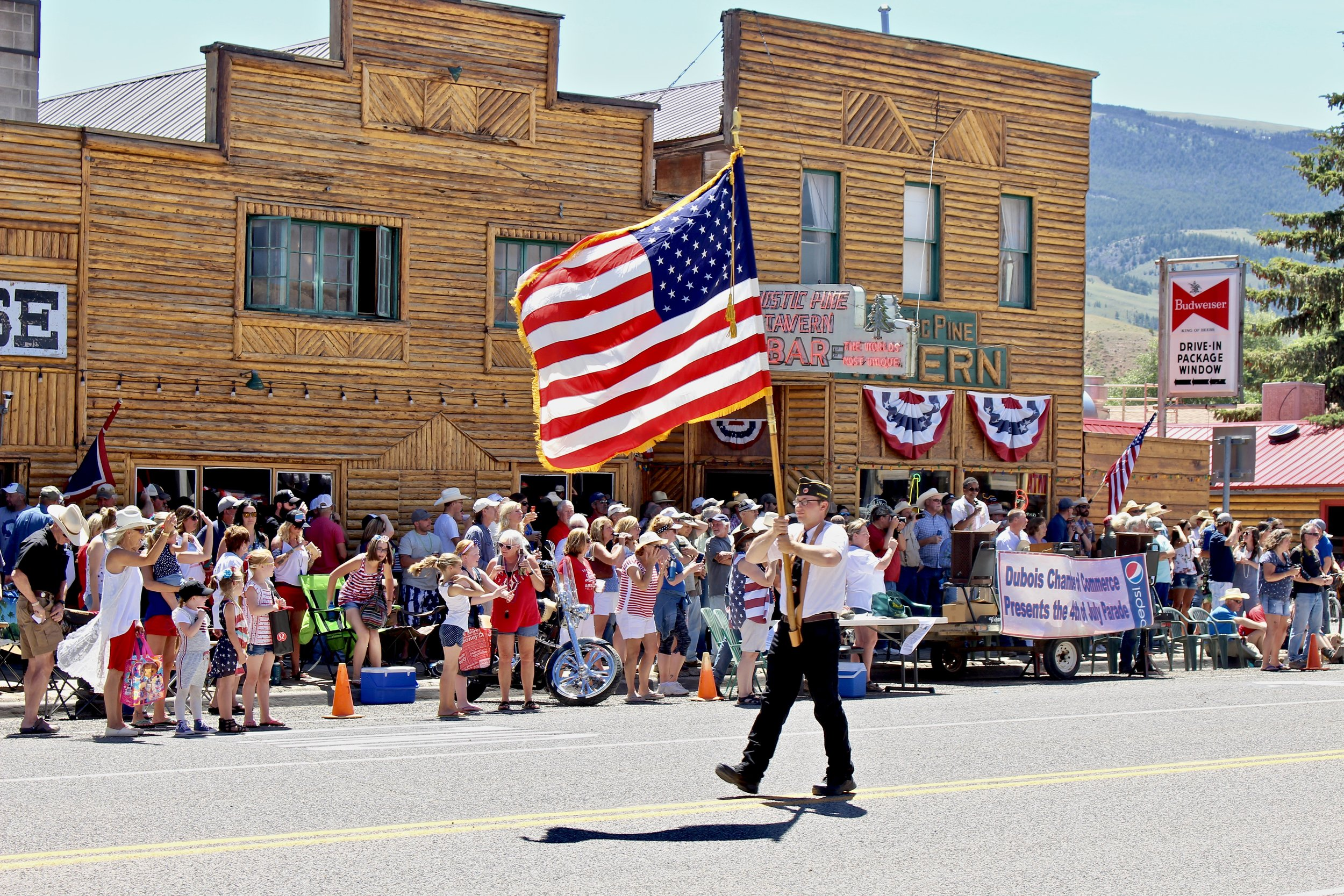The Flag leads the Independence Day parade in Dubois, Wyoming