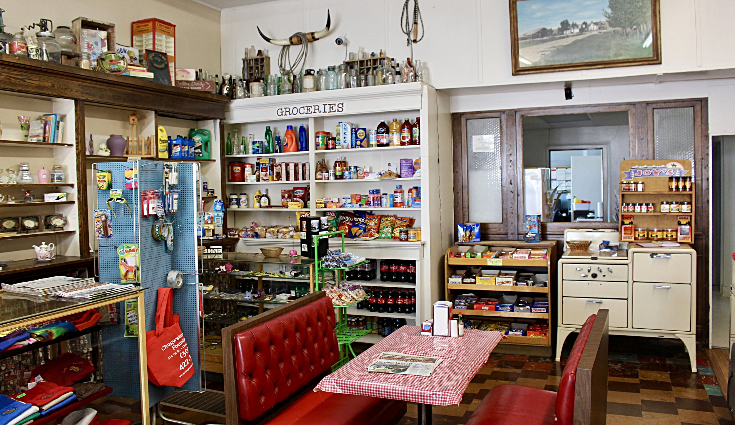 Groceries are sold in the back corner of the Soda Fountain