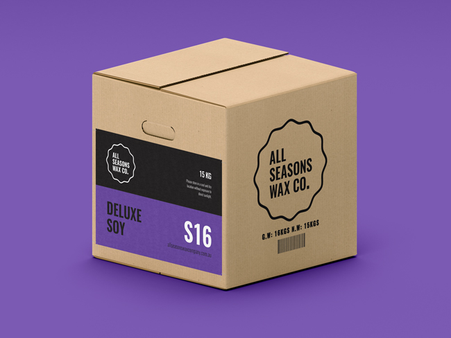 S16 Deluxe Soy Wax cartons include cut-out handles making them easier to pick-up and move around!