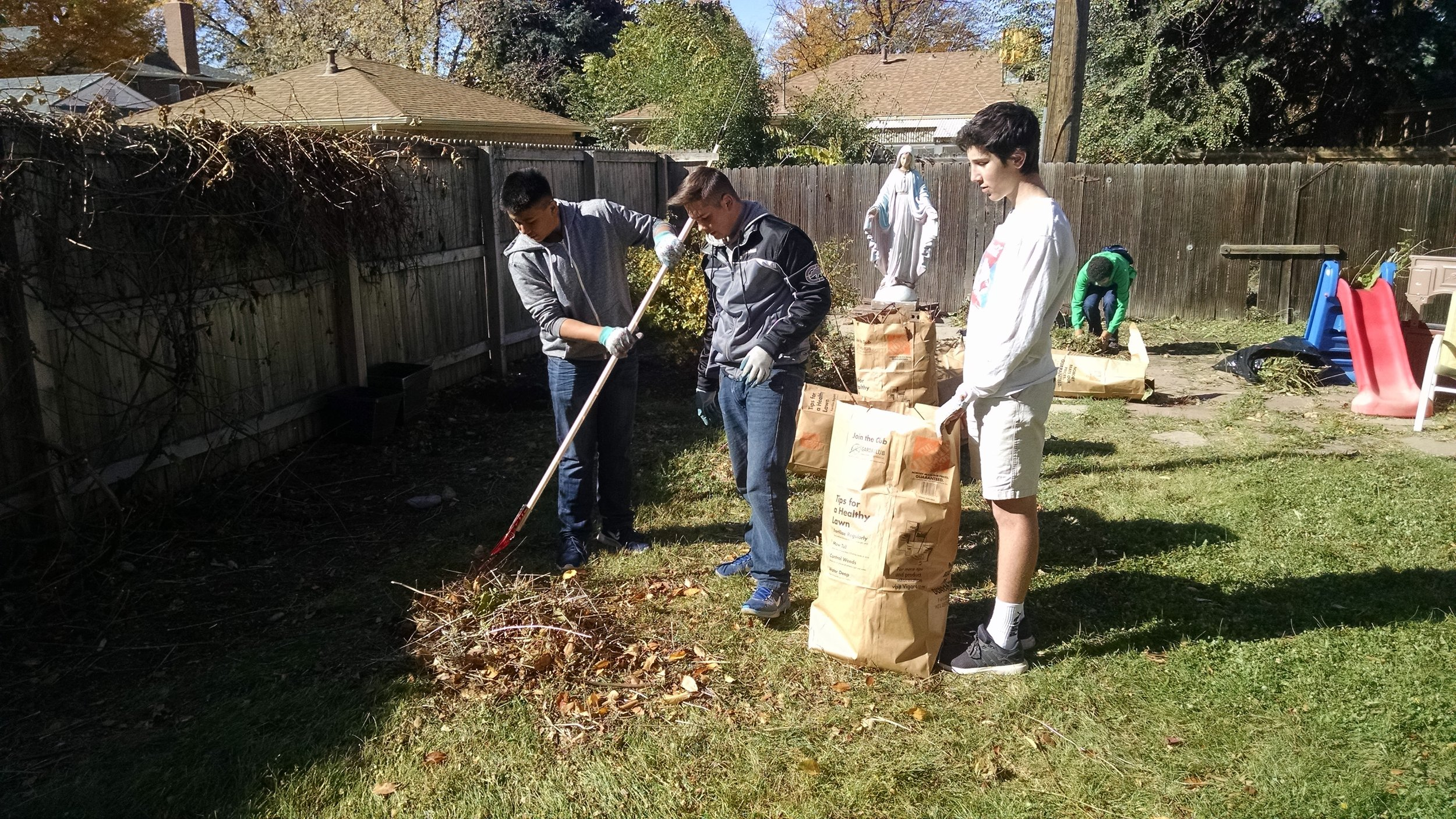 Service - Our annual fall clean up at the Gabriel House.