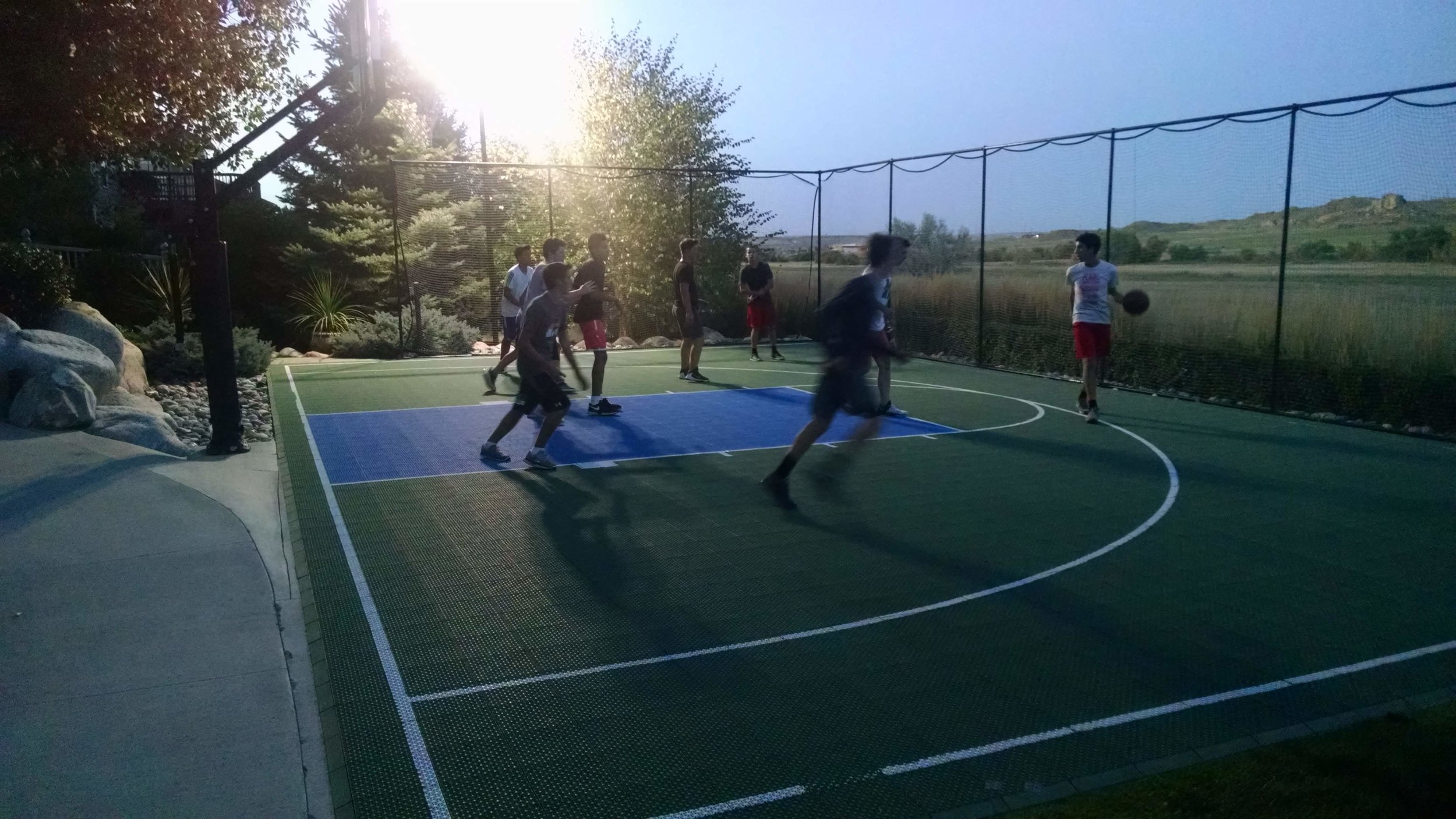 Sports - A Group 1 vs. Group 2 battle on the court.