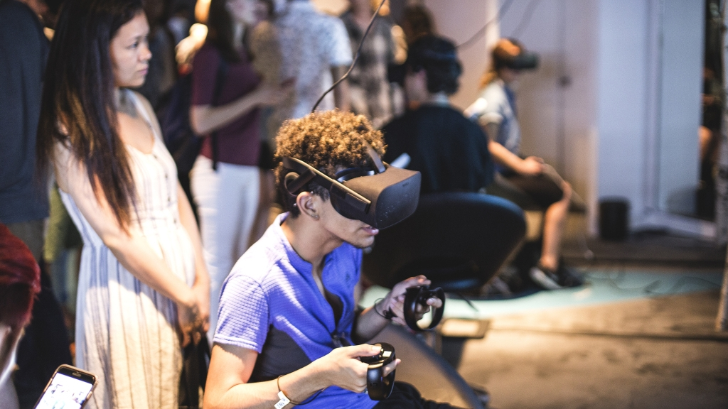Immersed in a game at VR World