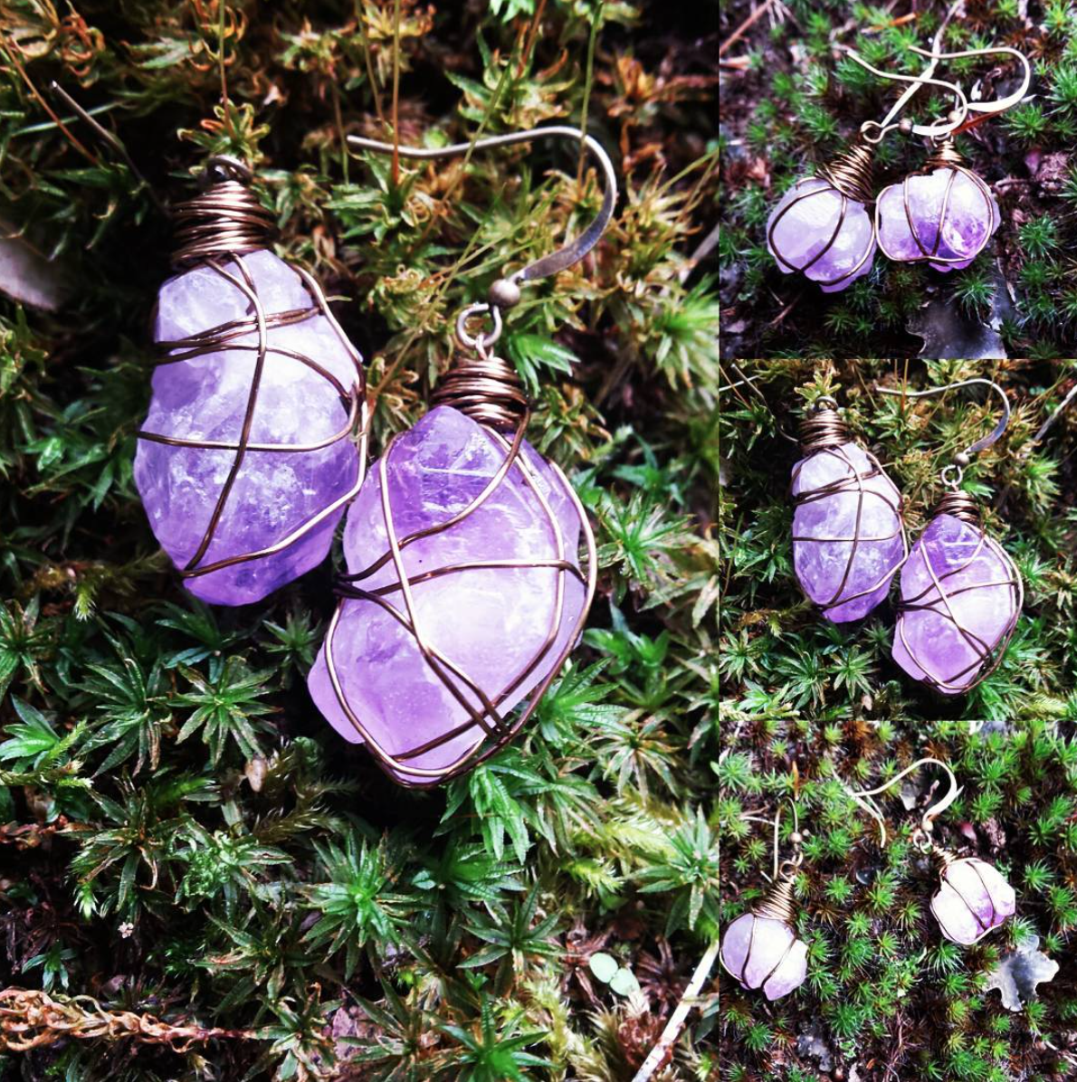 Mama amethyst and baby amethyst earrings by Laura Louise.