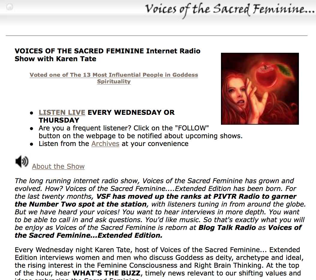 Voices of the Sacred Feminine podcast has been a real game changer for me. This is next level if you really want to learn about Goddess spirituality. I've learned about Sex Magic and the secrets of Kabbalah from her interviews. Highly recommended.