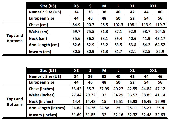 * Measurements shown in the size guide refer to body measurements and not measurements of the garment.