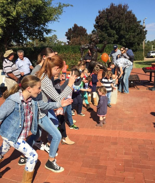 Ardlethan kids pretending to run the Stawell Gift.JPG