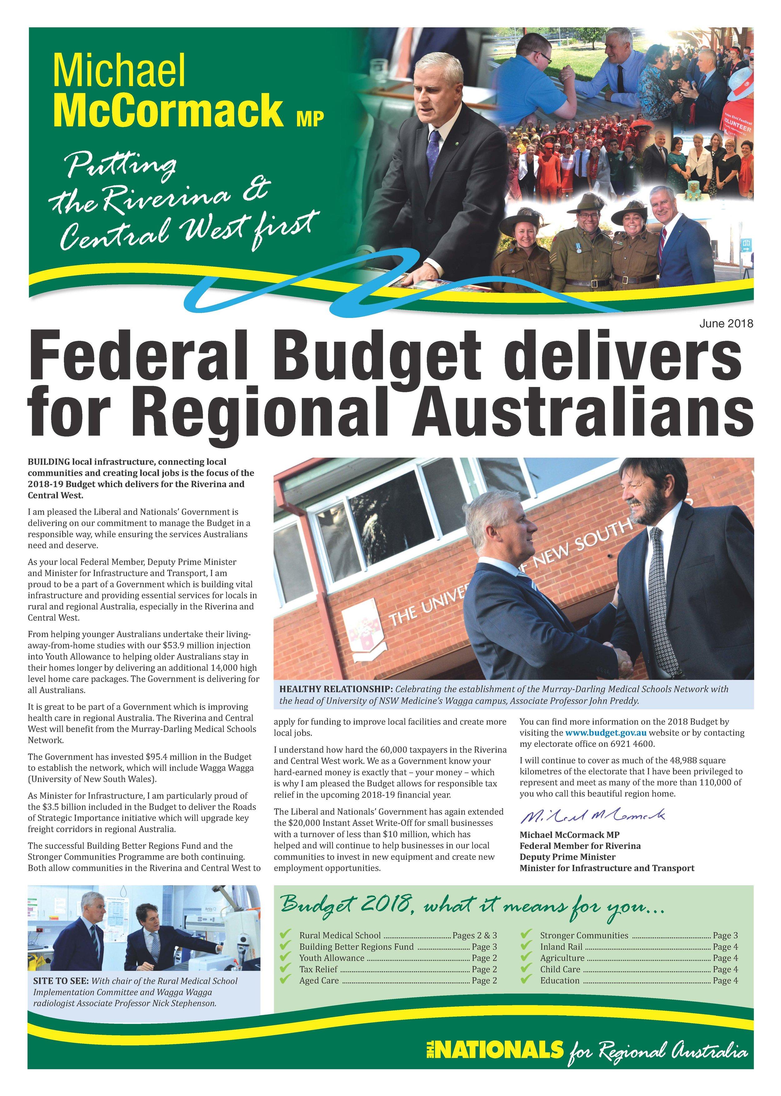 Newsletter - Budget 2018
