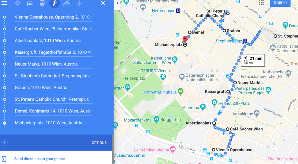 Along this route there are so many things to see. Once in Michaelerplatz we can continue towards Heldenplatz passing underneath the Hofburq Imperial apartments. This is about 1.6 miles and if we walk slow then it will be easy. We will allot 3 hours on this walk.