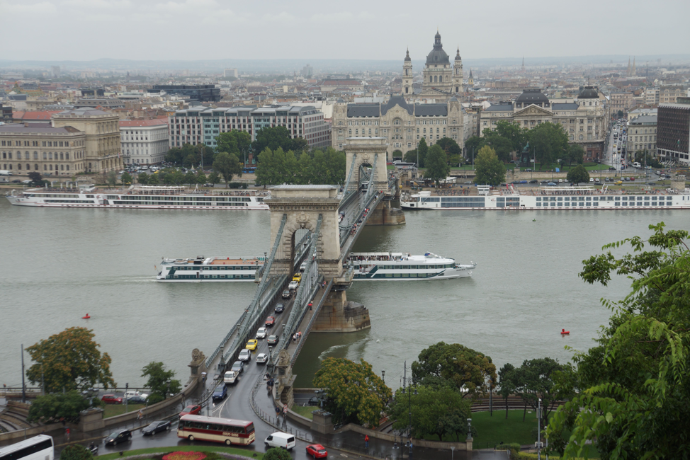 The Chain link Bridge over the River Danube connecting the Buda and Pest in Hungary.