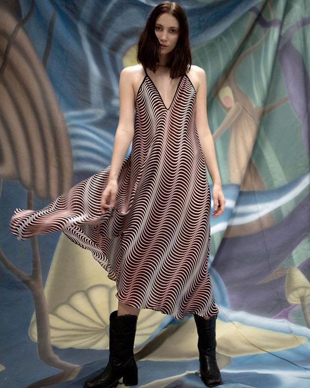 Op Art Slip Dress in Italian digitally printed silk - Available online @harveynichols and in store @ London: First floor Womenswear - Photo: @el_mustachios  HMU: @travisean