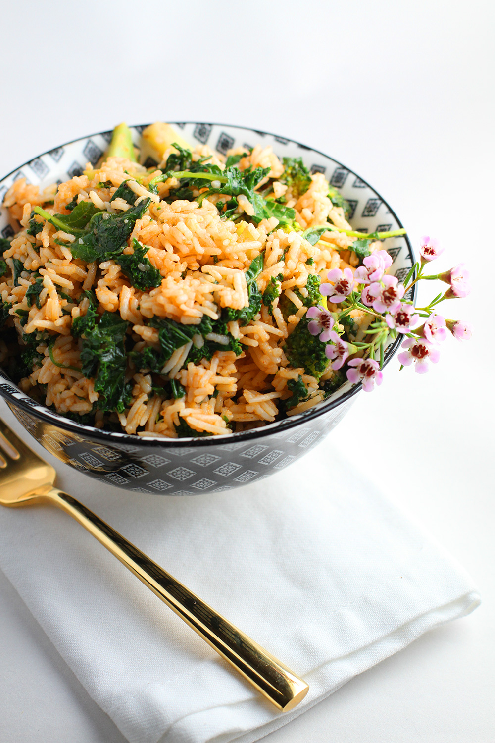 Rice Stir Fry with Broccoli + Kale