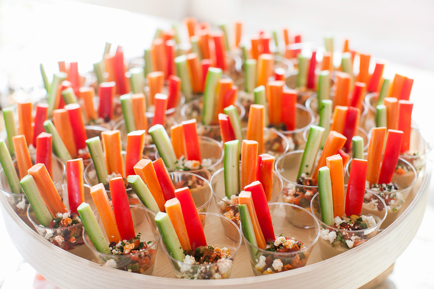 Loaded Hummus Crudite Cups