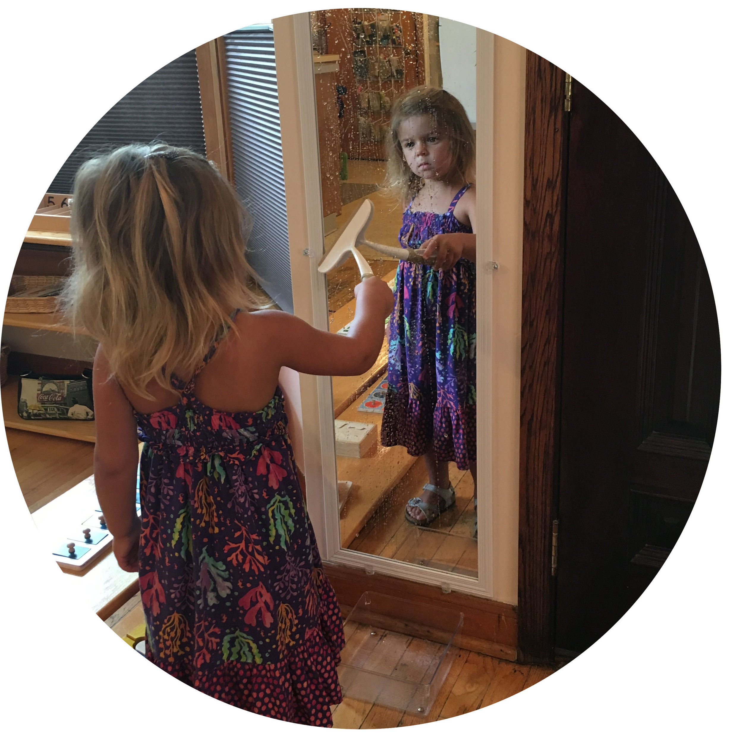 In this seemingly simple activity, children have the opportunity to learn about themselves in the mirror while also practicing a practical life skill to show care for the environment.