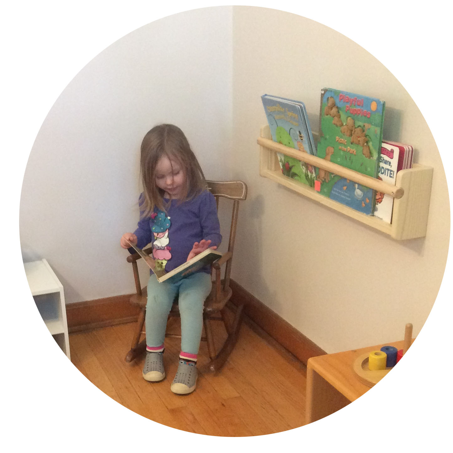 Children always have access to a rotating selection of engaging, age-appropriate books.