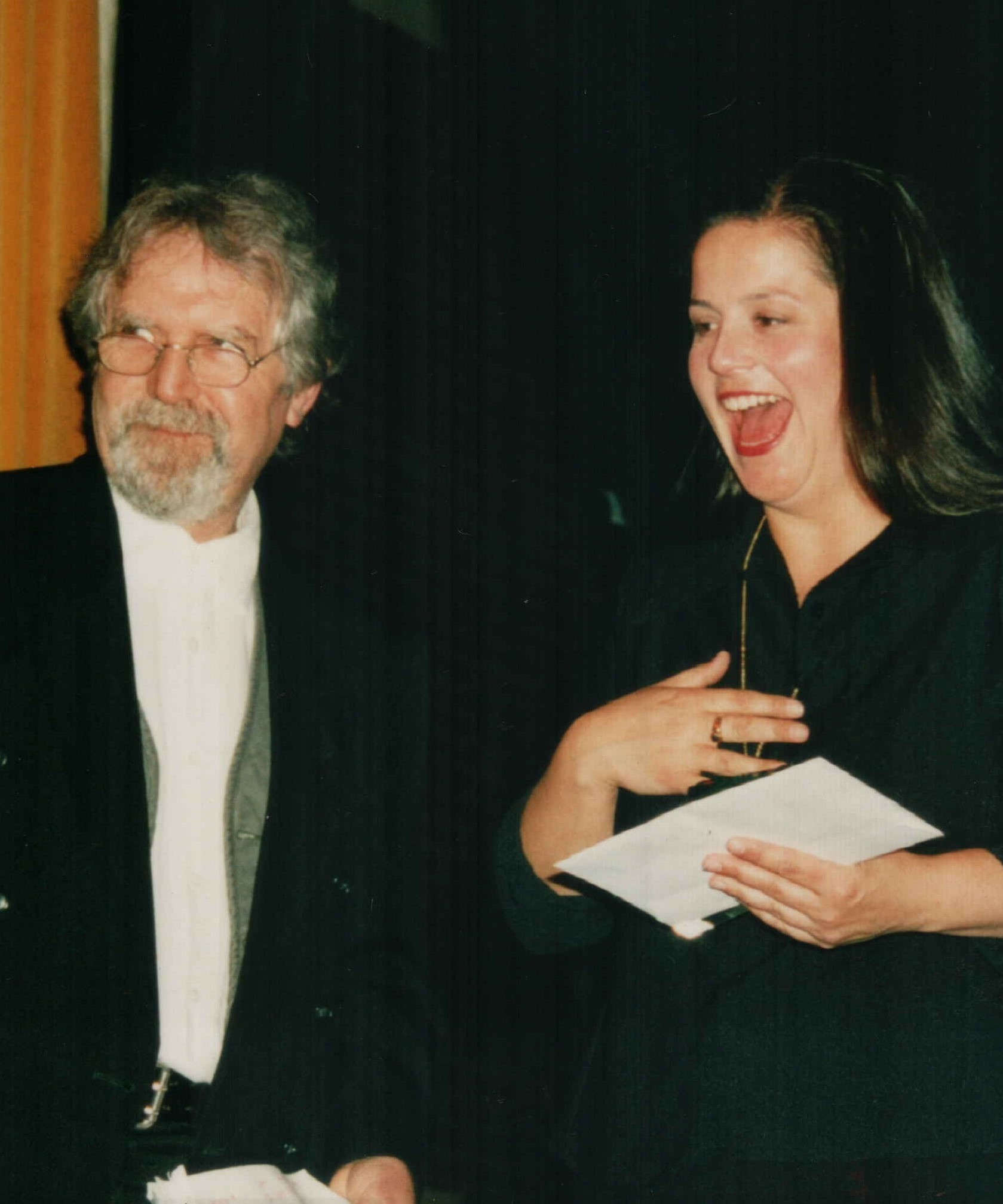 Tony Gould (left), chair of the Wangaratta National Jazz Awards, with the winner in 1998, vocalist Michelle Nicolle