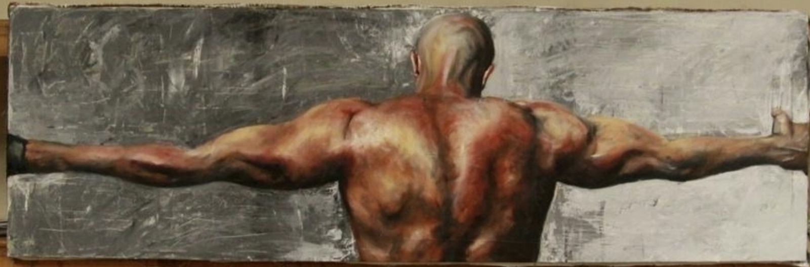 """Charles Mullaly as a model for painting """"Sisyphus""""by artist Rob Fischetti"""