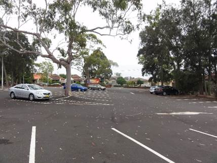 Existing carpark and trees