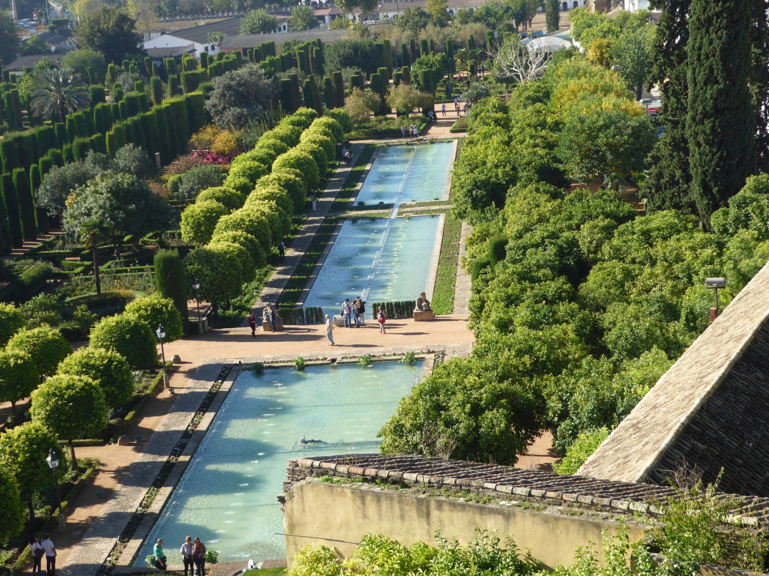 View of the Alcázar gardens from above
