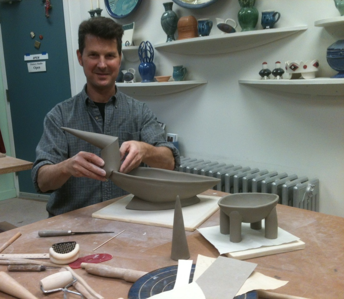 Neil handbuilding a Bird Bowl