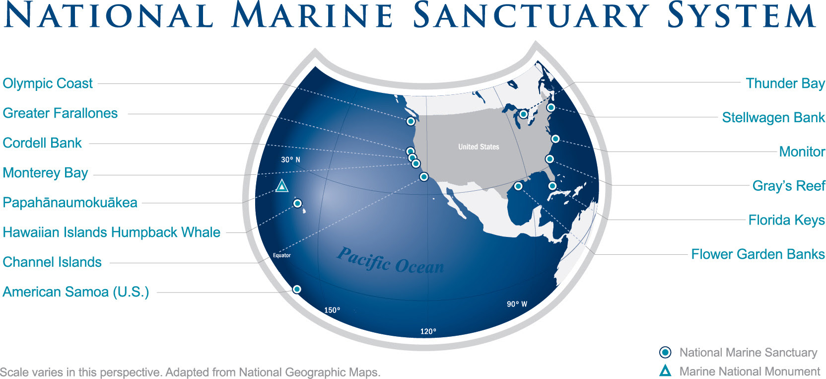 image by NOAA. Some of these marine sanctuaries are under focus by President Trump's Executive Order.