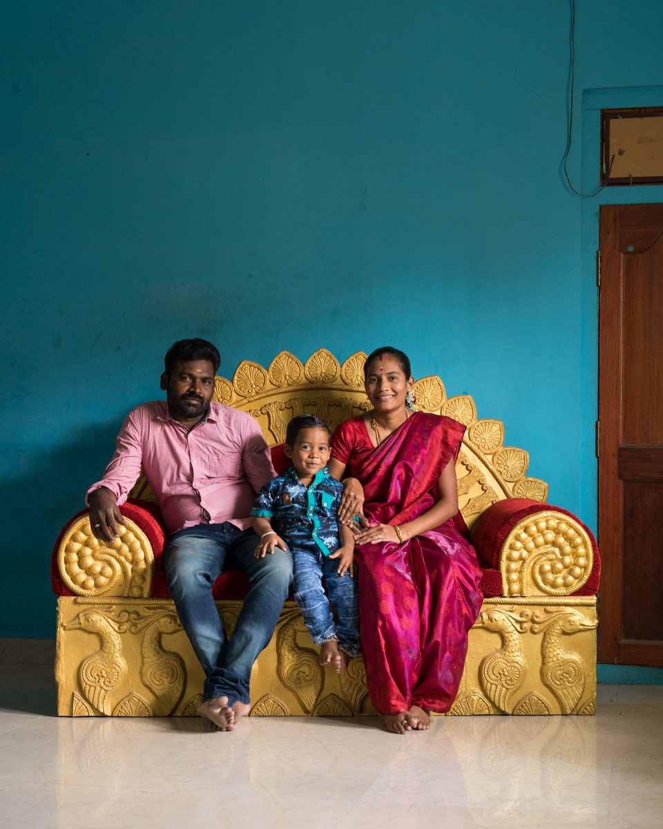 "'Versatile settee I' - Kumaresan, Yeshwanth and Sarasu in their living room; 26th January, 2019 ; 10"" x 8"" Archival print on Hahnehmühle pearl."