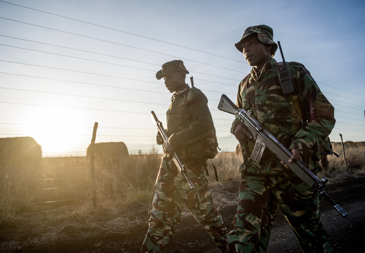 The NPR (National Police Reservists) patrol the fenced border of Ol Pejeta conservancy in Central Kenya looking for signs of poachers.  In 2018, they were fired upon by 3 poachers and a firefight ensued, all 3 poachers were killed by the NPR in self defense.