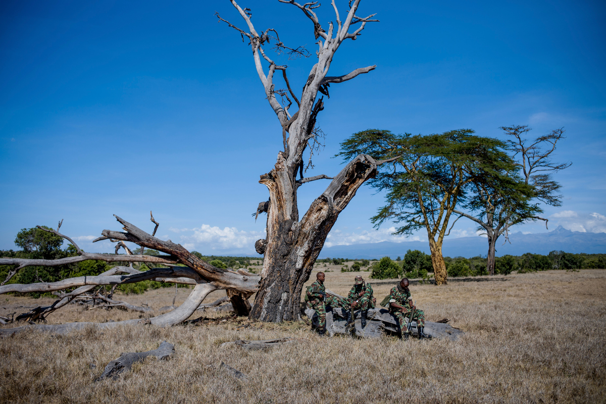 The NPR (National Police Reservists) take a break while on patrol in Ol Pejeta conservancy in Central Kenya looking for signs of poachers.
