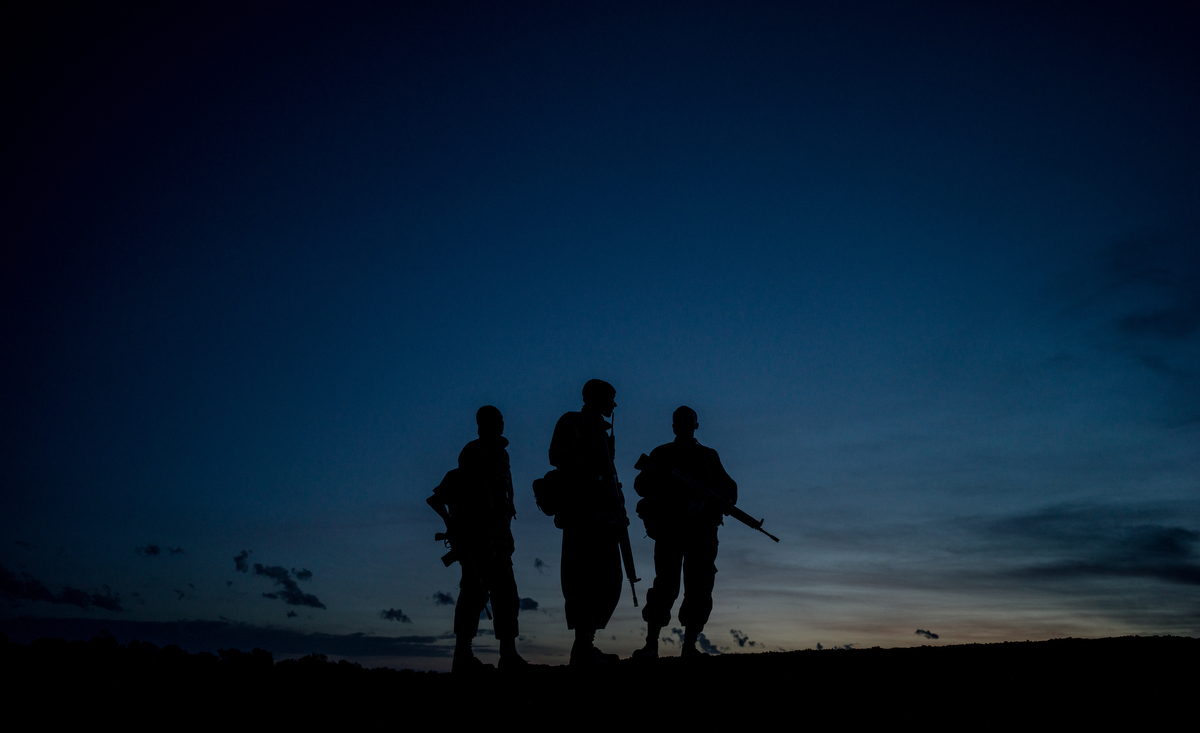 The NPR (National Police Reservists) patrol Ol Pejeta's 360 km2 (140 sq mi) conservancy around the clock, even camping overnight in the bush with their weapons protecting the grounds from poachers.