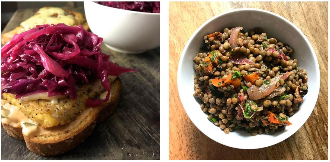Thursday: tempeh rubens and lentil + olive salad.