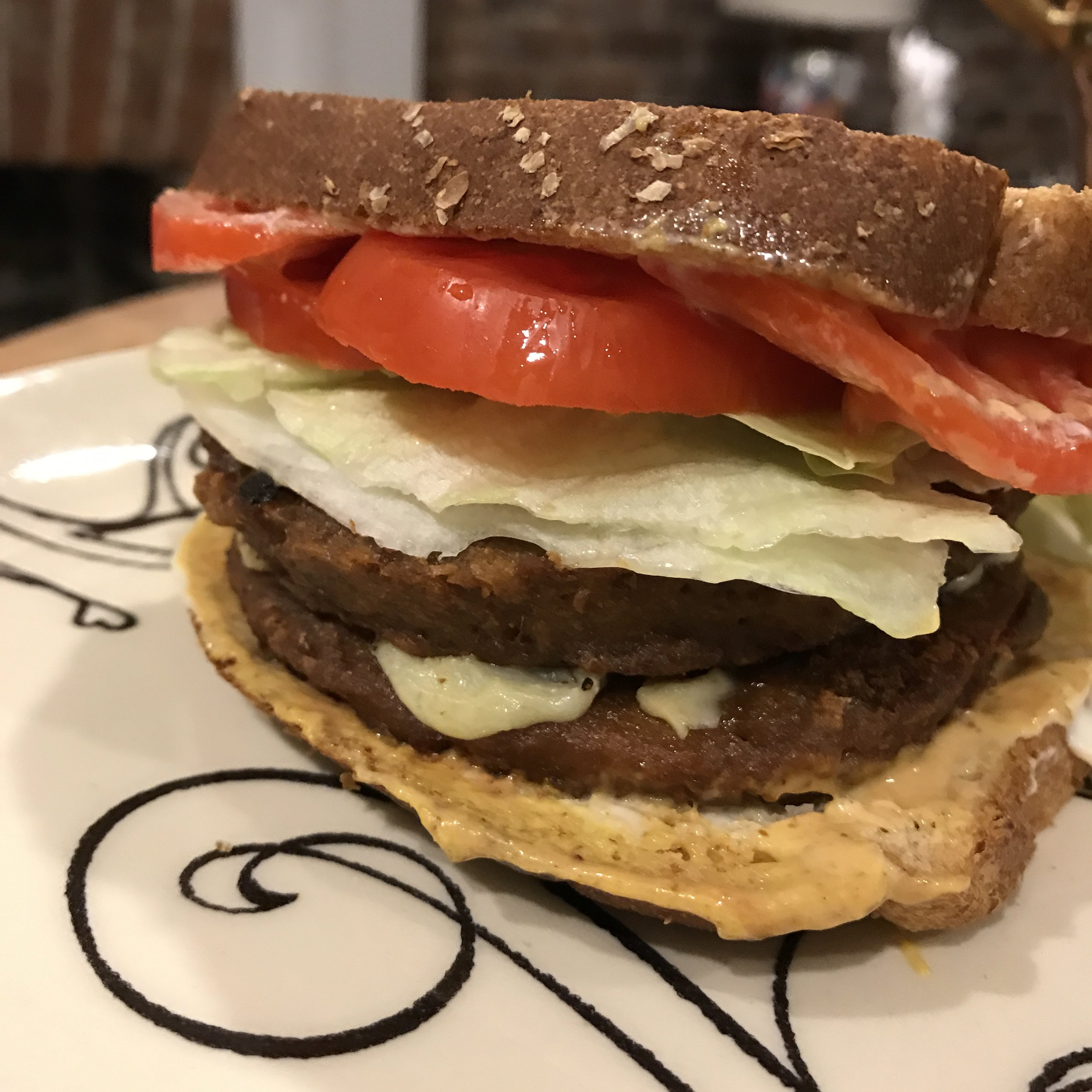 Saturday: a mouthwatering double cheeseburger made with grillers from Morningstar!