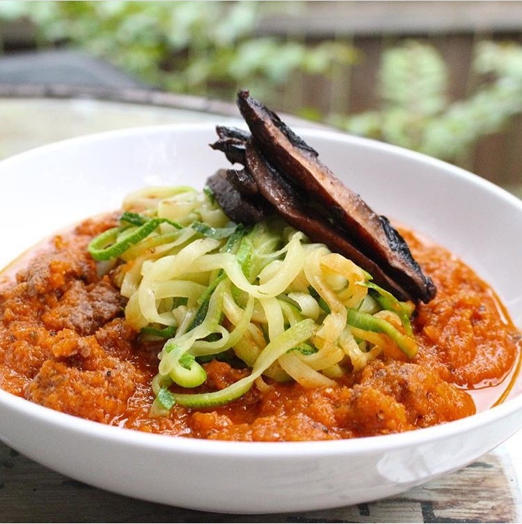 Zucchini Noodles, Marinara + Grilled Portabella Mushrooms.jpg